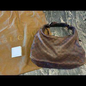GUCCI Horse bit Hobo GG Medium Leather Bag